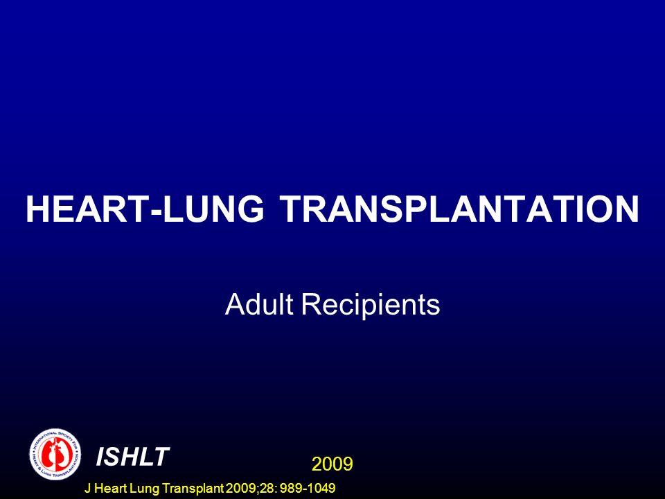 J Heart Lung Transplant 2009;28: 989-1049 HEART-LUNG TRANSPLANTATION Adult Recipients ISHLT 2009
