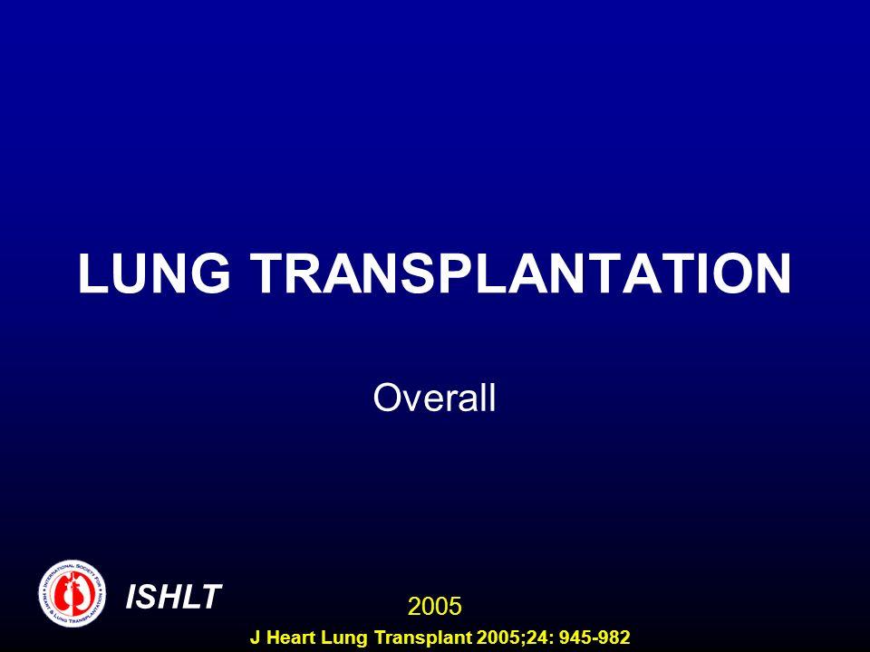 LUNG TRANSPLANTATION Overall ISHLT 2005 J Heart Lung Transplant 2005;24: 945-982