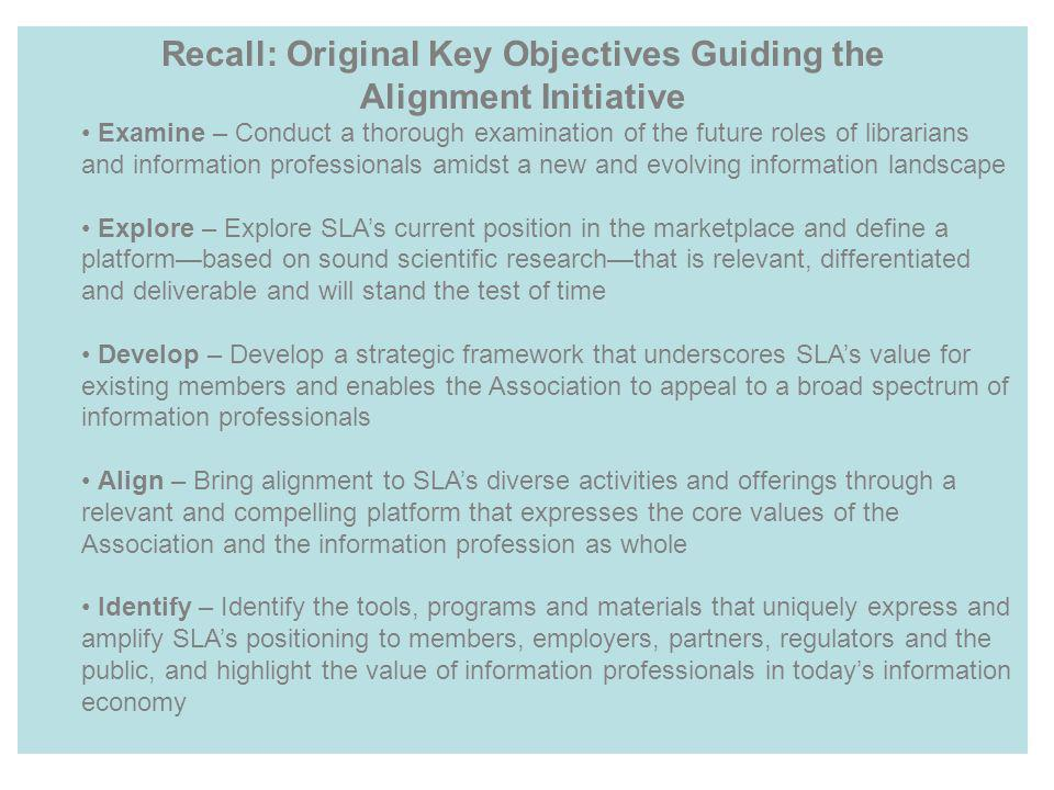 Recall: Original Key Objectives Guiding the Alignment Initiative Examine – Conduct a thorough examination of the future roles of librarians and inform