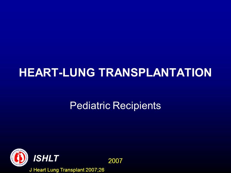 HEART-LUNG TRANSPLANTATION Pediatric Recipients ISHLT 2007 J Heart Lung Transplant 2007;26