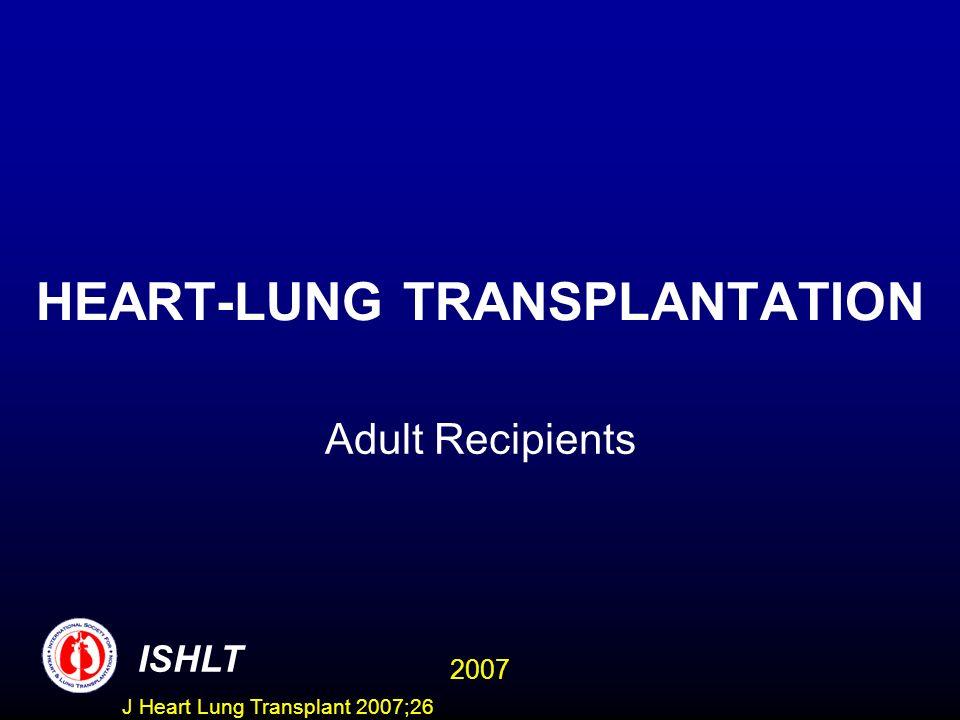 HEART-LUNG TRANSPLANTATION Adult Recipients ISHLT 2007 J Heart Lung Transplant 2007;26