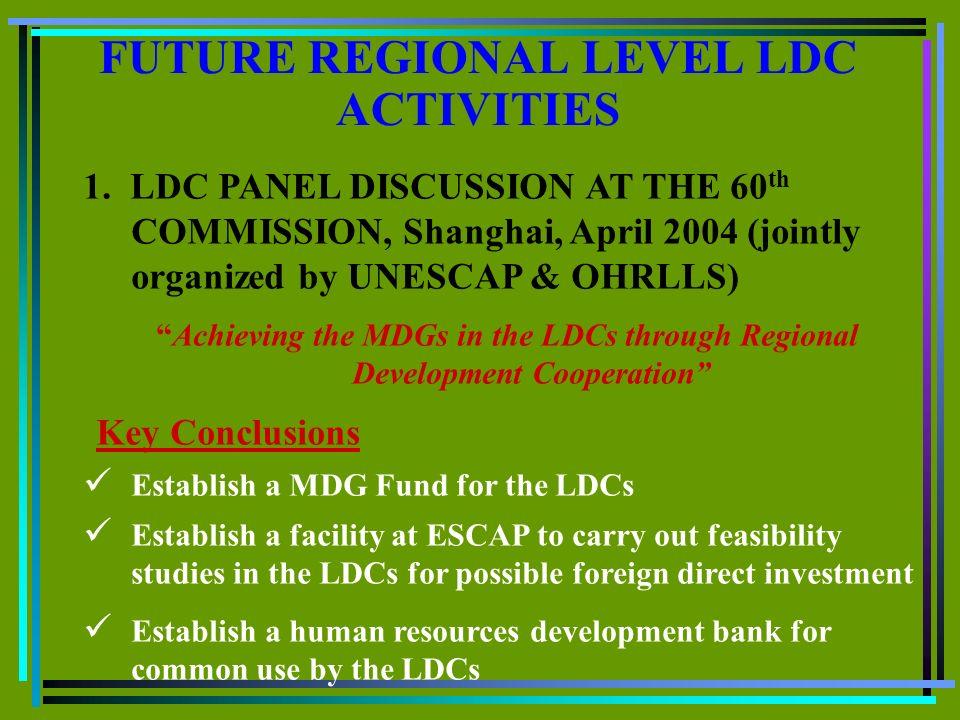 FUTURE REGIONAL LEVEL LDC ACTIVITIES 1.