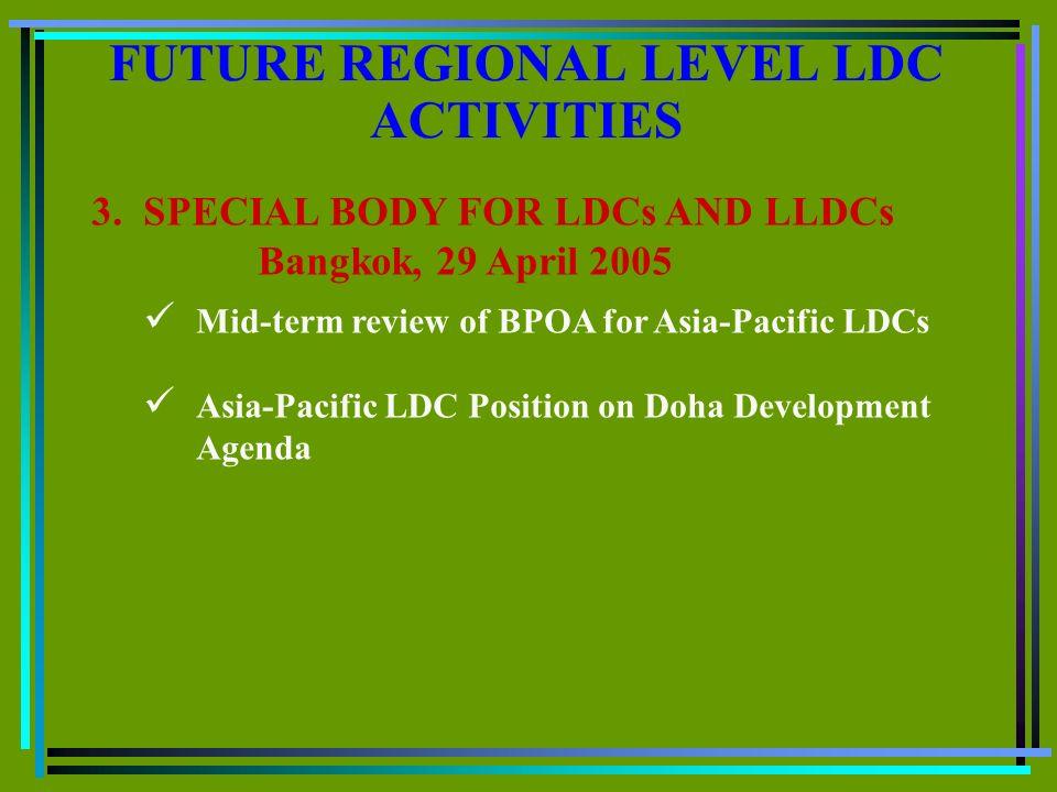 FUTURE REGIONAL LEVEL LDC ACTIVITIES 3.