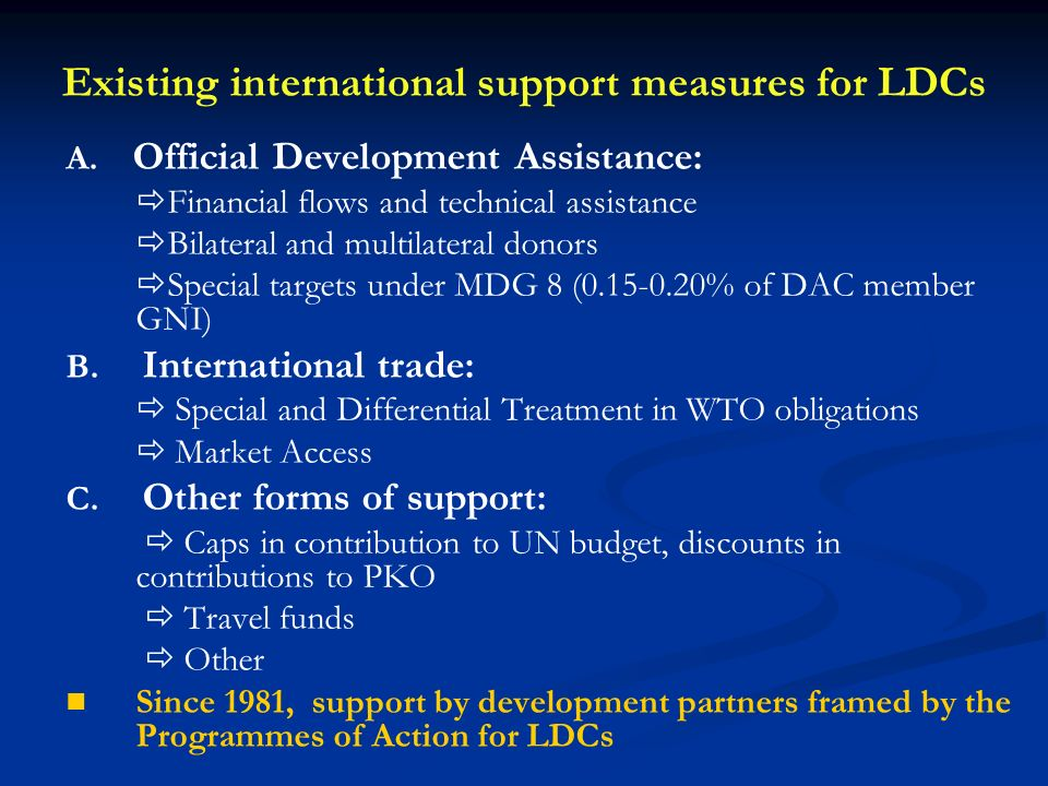 Existing international support measures for LDCs A.