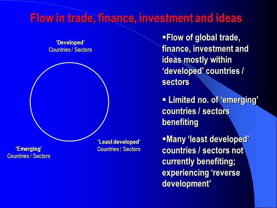 Flow in trade, finance, investment and ideas Developed Countries / Sectors Emerging Least developed Countries / Sectors Flow of global trade, finance, investment and ideas mostly within developed countries / sectors Flow of global trade, finance, investment and ideas mostly within developed countries / sectors Limited no.