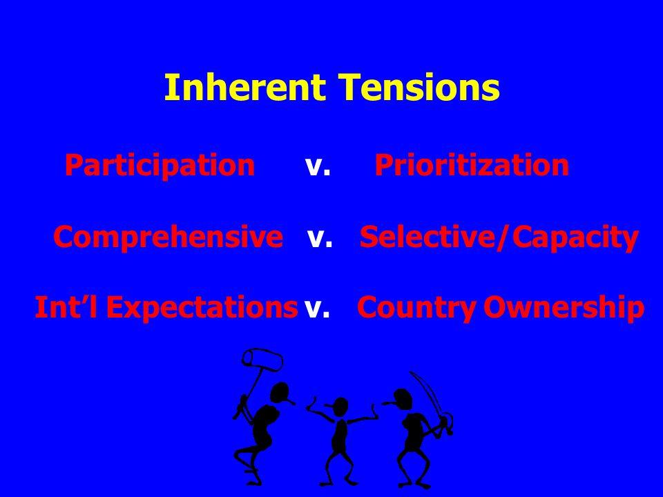 Inherent Tensions Participation v. Prioritization Comprehensive v.