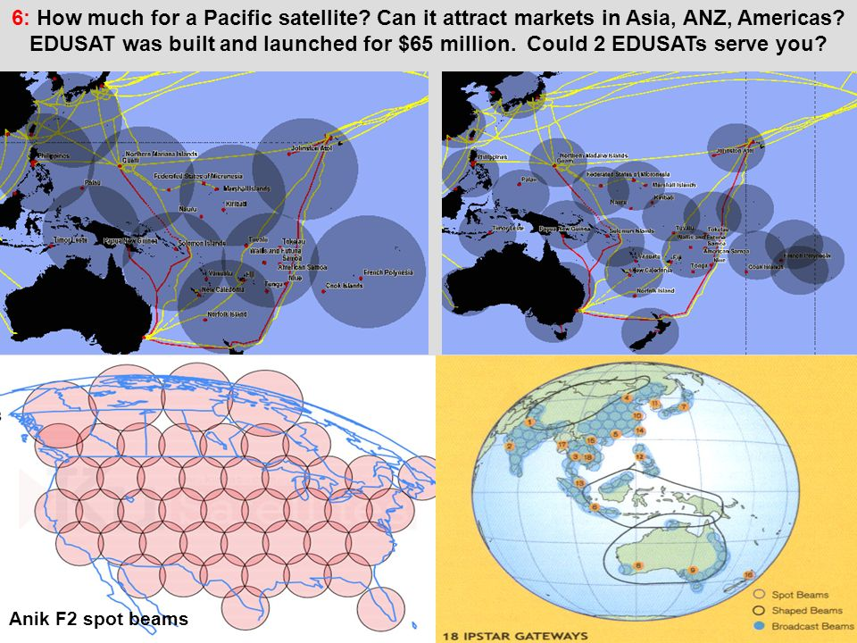 Anik F2 spot beams Pacific island states service centresPacific island states service centres 6: How much for a Pacific satellite.