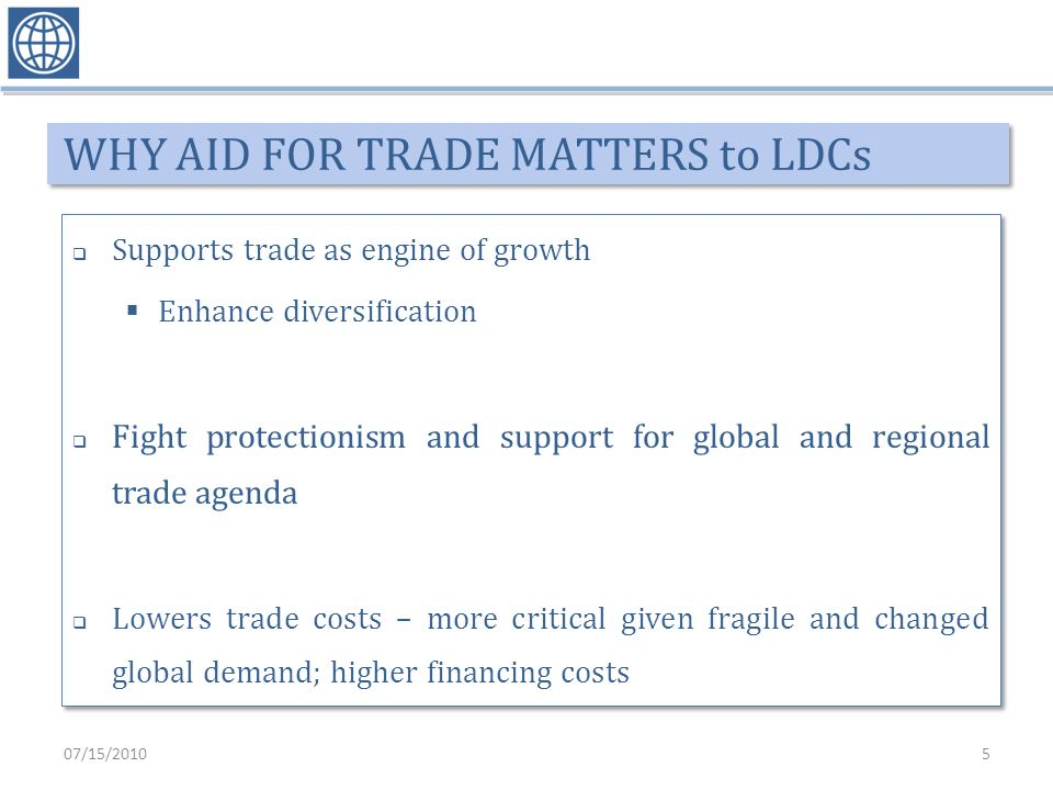 WHY AID FOR TRADE MATTERS to LDCs Supports trade as engine of growth Enhance diversification Fight protectionism and support for global and regional trade agenda Lowers trade costs – more critical given fragile and changed global demand; higher financing costs Supports trade as engine of growth Enhance diversification Fight protectionism and support for global and regional trade agenda Lowers trade costs – more critical given fragile and changed global demand; higher financing costs 07/15/20105