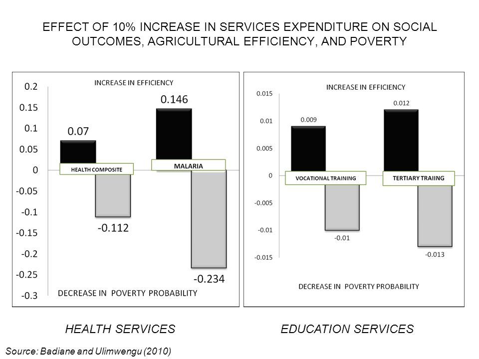 HEALTH SERVICESEDUCATION SERVICES EFFECT OF 10% INCREASE IN SERVICES EXPENDITURE ON SOCIAL OUTCOMES, AGRICULTURAL EFFICIENCY, AND POVERTY Source: Badiane and Ulimwengu (2010)
