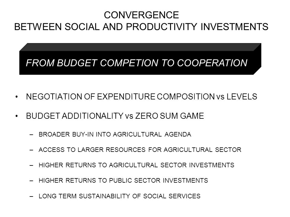 NEGOTIATION OF EXPENDITURE COMPOSITION vs LEVELS BUDGET ADDITIONALITY vs ZERO SUM GAME –BROADER BUY-IN INTO AGRICULTURAL AGENDA –ACCESS TO LARGER RESOURCES FOR AGRICULTURAL SECTOR –HIGHER RETURNS TO AGRICULTURAL SECTOR INVESTMENTS –HIGHER RETURNS TO PUBLIC SECTOR INVESTMENTS –LONG TERM SUSTAINABILITY OF SOCIAL SERVICES FROM BUDGET COMPETION TO COOPERATION CONVERGENCE BETWEEN SOCIAL AND PRODUCTIVITY INVESTMENTS