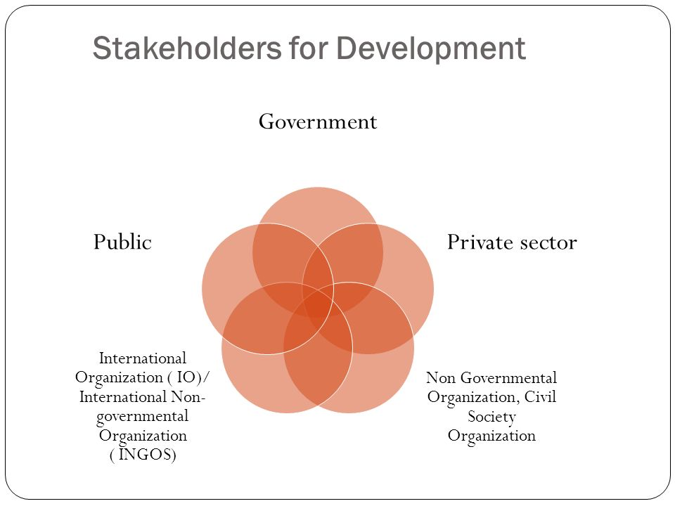 Stakeholders for Development Government Private sector Non Governmental Organization, Civil Society Organization International Organization ( IO)/ Int
