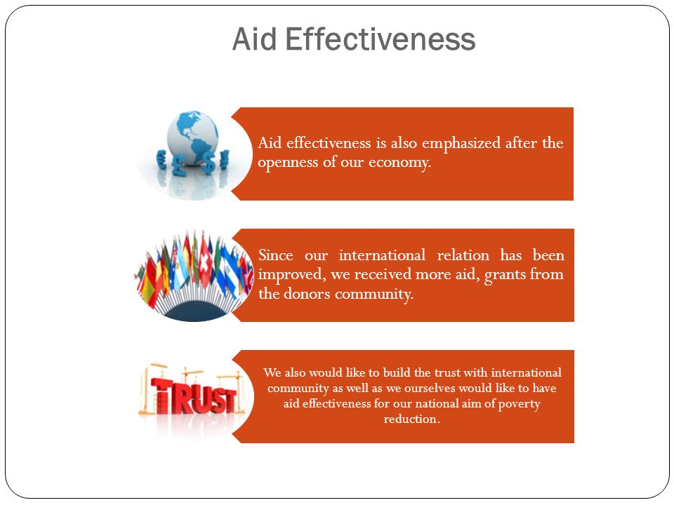 Aid Effectiveness Aid effectiveness is also emphasized after the openness of our economy. Since our international relation has been improved, we recei