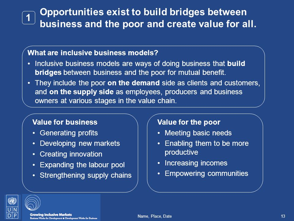 13Name, Place, Date Opportunities exist to build bridges between business and the poor and create value for all.