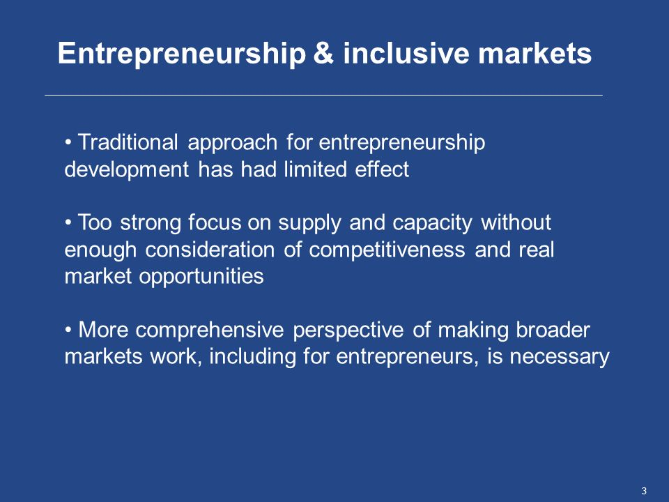 4Name, Place, Date Entrepreneurship development needs to be seen in the broader context of markets