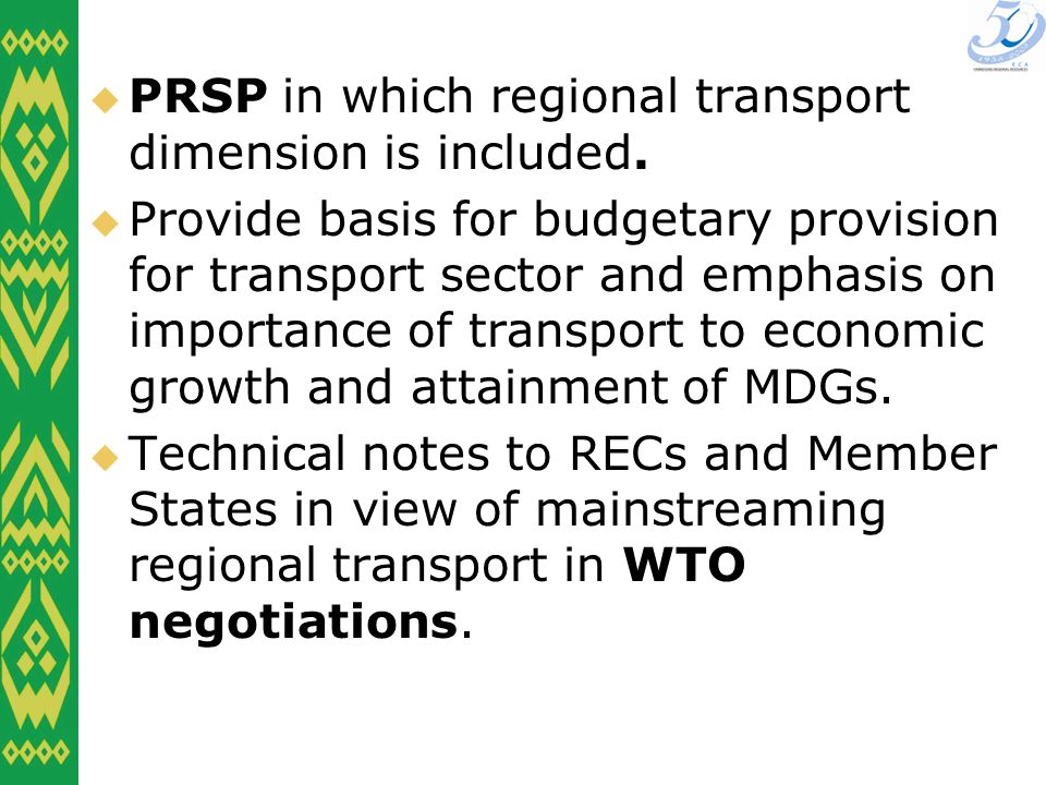 PRSP in which regional transport dimension is included.