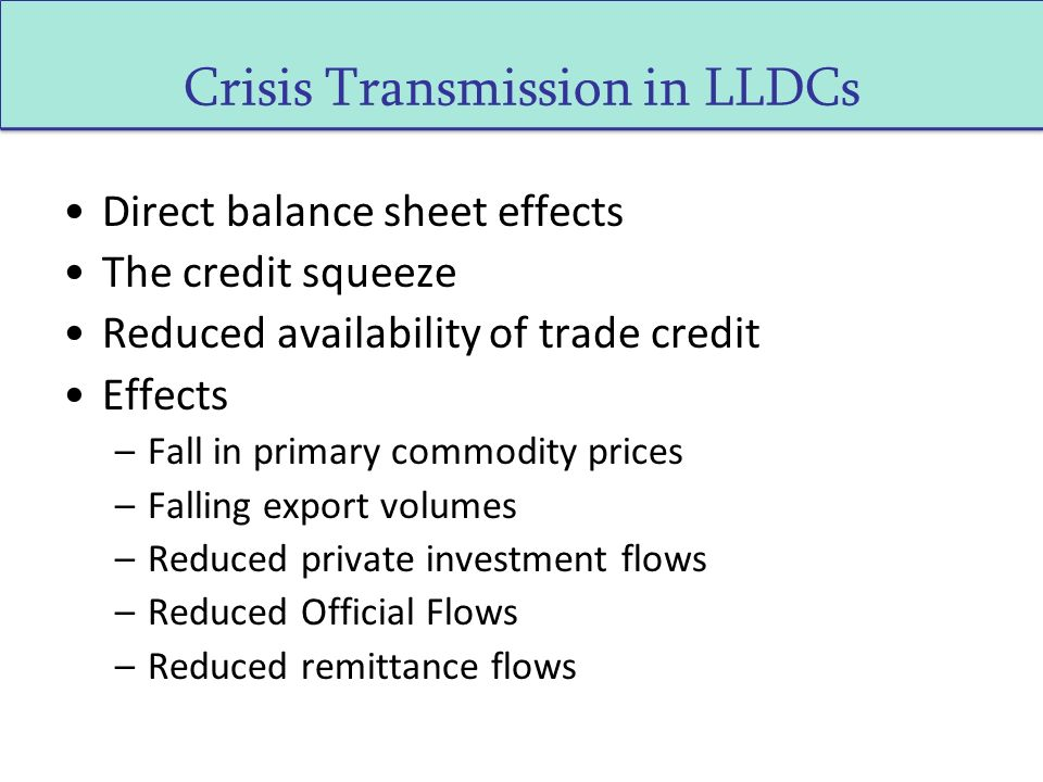 Direct balance sheet effects The credit squeeze Reduced availability of trade credit Effects –Fall in primary commodity prices –Falling export volumes –Reduced private investment flows –Reduced Official Flows –Reduced remittance flows Crisis Transmission in LLDCs