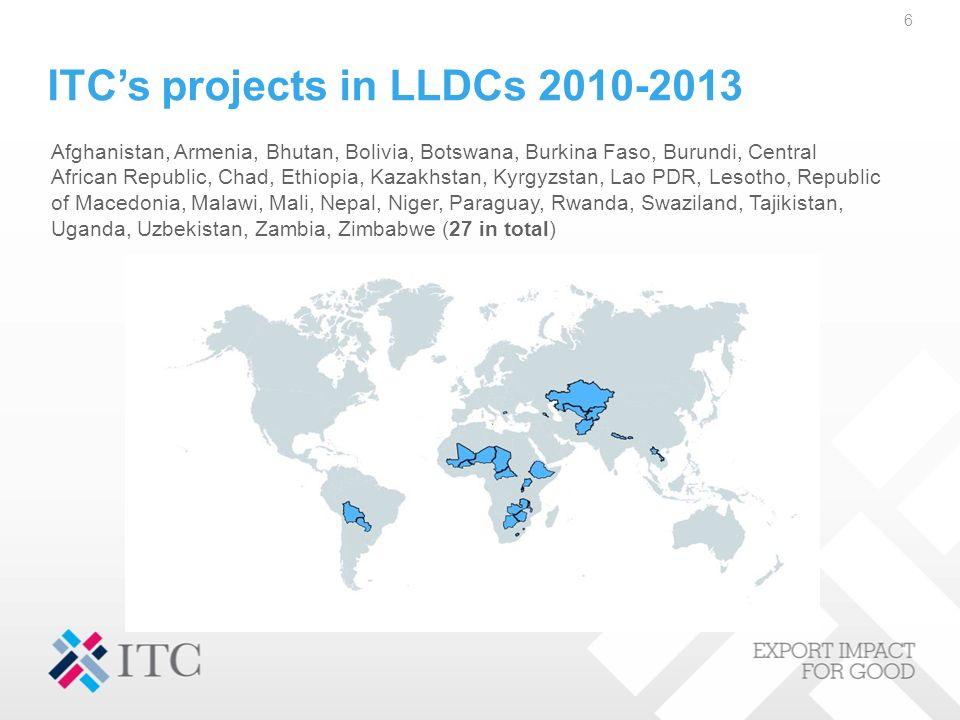 ITCs projects in LLDCs 2010-2013 Afghanistan, Armenia, Bhutan, Bolivia, Botswana, Burkina Faso, Burundi, Central African Republic, Chad, Ethiopia, Kaz