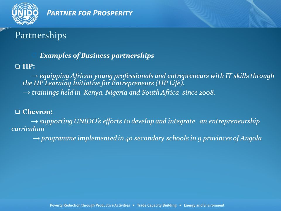 Partnerships Examples of Business partnerships HP: equipping African young professionals and entrepreneurs with IT skills through the HP Learning Initiative for Entrepreneurs (HP Life).