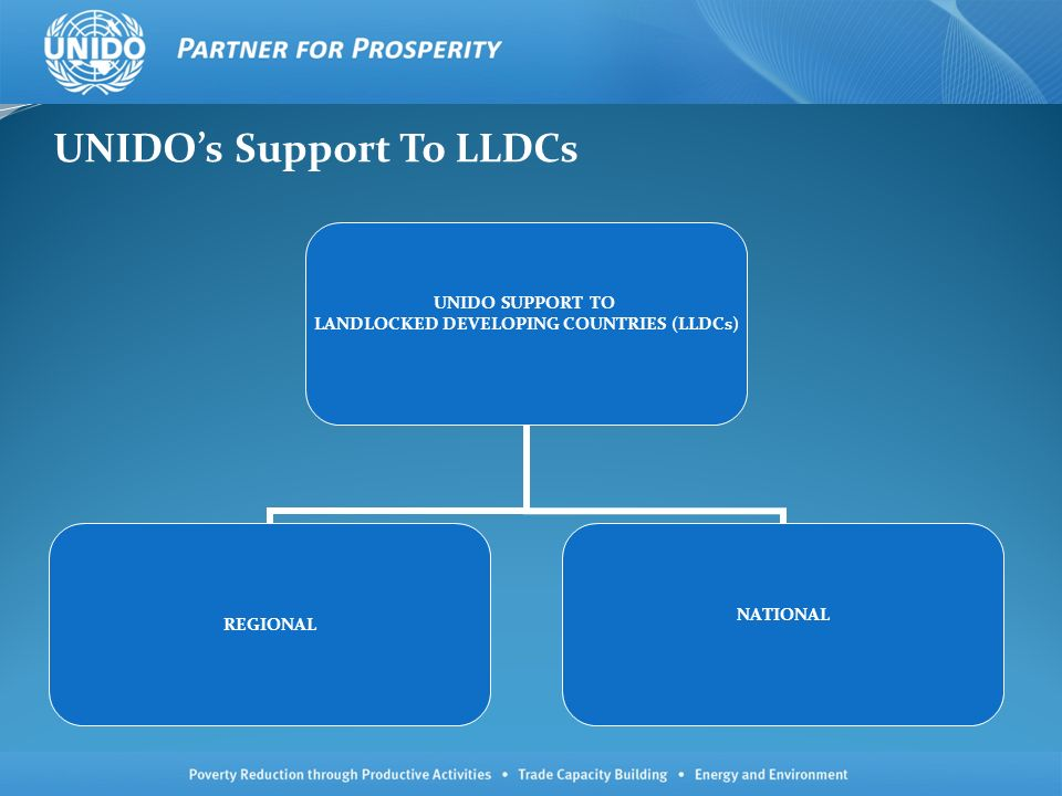 UNIDOs Support To LLDCs UNIDO SUPPORT TO LANDLOCKED DEVELOPING COUNTRIES (LLDCs) REGIONAL NATIONAL
