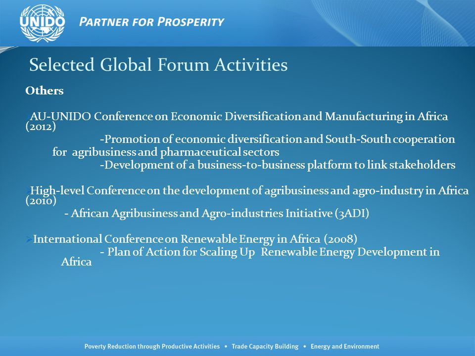 Selected Global Forum Activities Others AU-UNIDO Conference on Economic Diversification and Manufacturing in Africa (2012) -Promotion of economic dive
