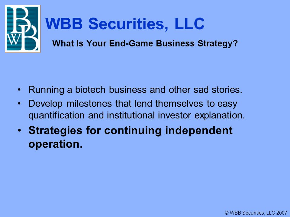 WBB Securities, LLC © WBB Securities, LLC 2007 What Is Your End-Game Business Strategy.