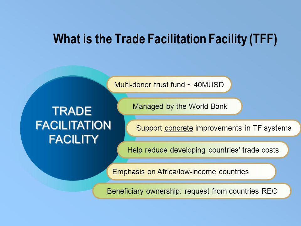 What is the Trade Facilitation Facility (TFF) Multi-donor trust fund ~ 40MUSD Managed by the World Bank Support concrete improvements in TF systems Help reduce developing countries trade costs Emphasis on Africa/low-income countries TRADEFACILITATIONFACILITY Beneficiary ownership: request from countries REC