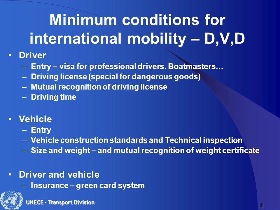6 UNECE – Transport Division Minimum conditions for international mobility – D,V,D Driver –Entry – visa for professional drivers.