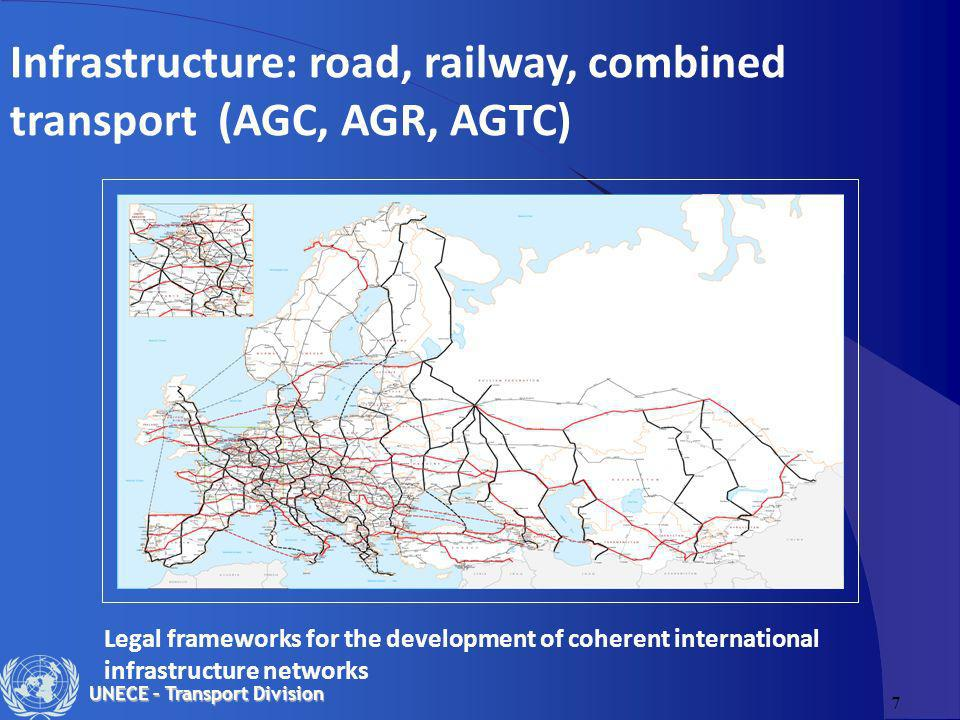 7 UNECE – Transport Division Infrastructure: road, railway, combined transport (AGC, AGR, AGTC) Legal frameworks for the development of coherent inter