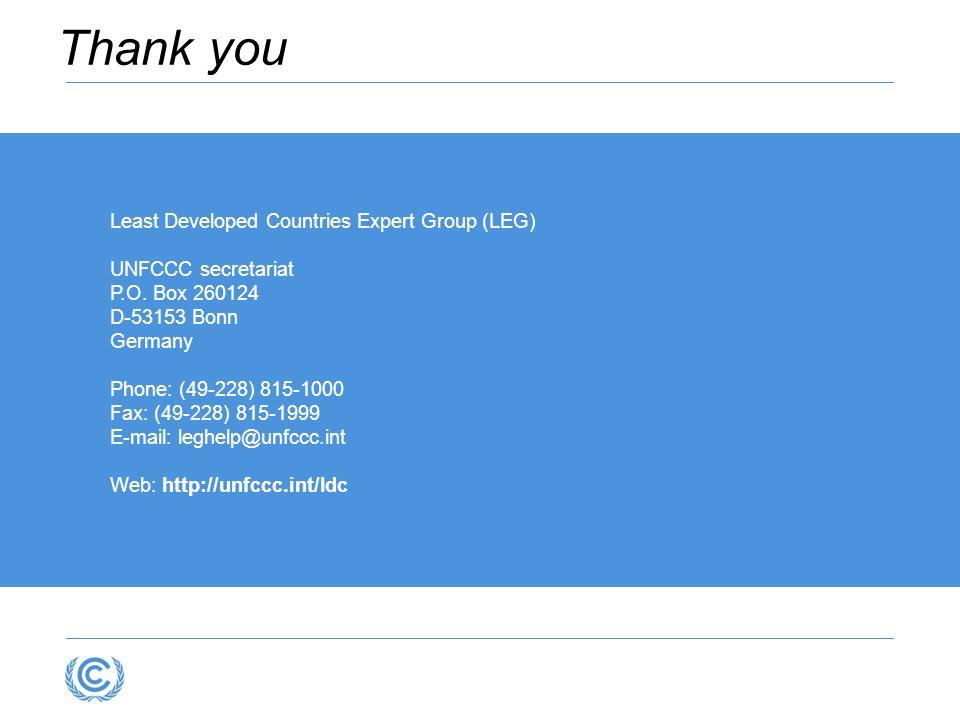 Least Developed Countries Expert Group (LEG) UNFCCC secretariat P.O. Box 260124 D-53153 Bonn Germany Phone: (49-228) 815-1000 Fax: (49-228) 815-1999 E