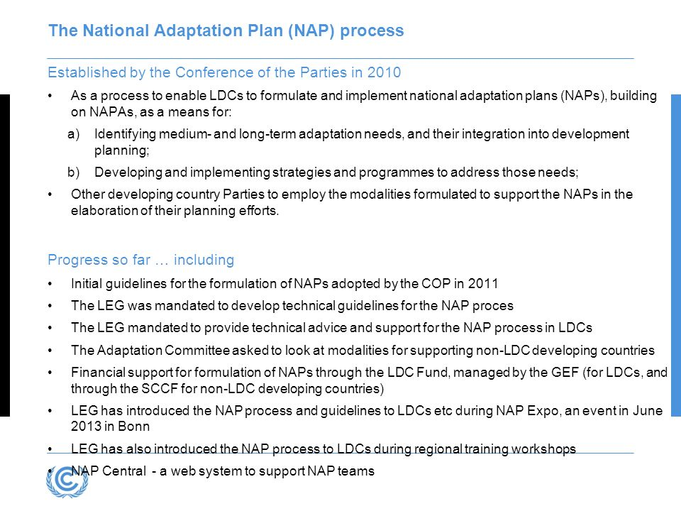 Established by the Conference of the Parties in 2010 As a process to enable LDCs to formulate and implement national adaptation plans (NAPs), building