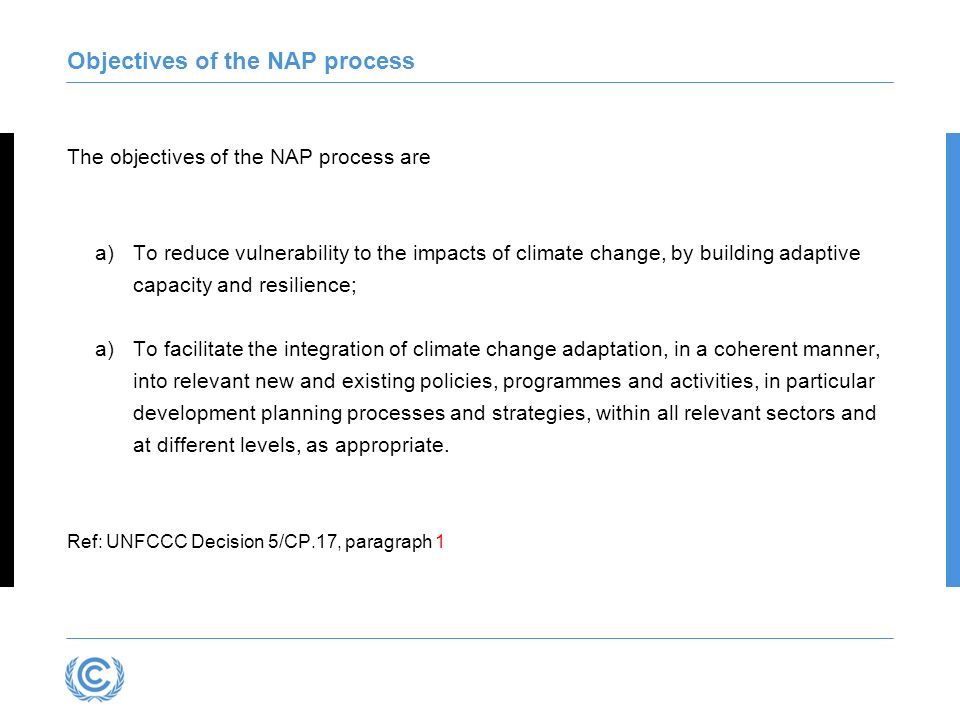 Guiding principles of the NAP process Continuous planning process at the national level with iterative updates and outputs Country-owned, country-driven Not prescriptive, but flexible and based on country needs Building on and not duplicating existing adaptation efforts Participatory and transparent Enhancing coherence of adaptation and development planning Supported by comprehensive monitoring and review Considering vulnerable groups, communities and ecosystems Guided by best available science Taking into consideration traditional and indigenous knowledge Gender-sensitive