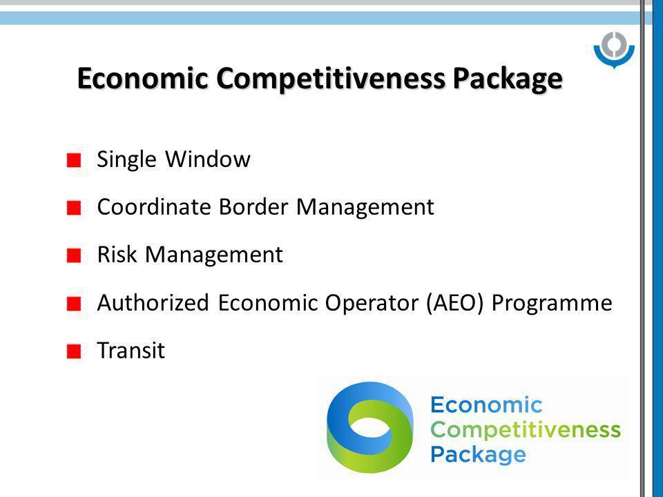 6 Economic Competitiveness Package Single Window Coordinate Border Management Risk Management Authorized Economic Operator (AEO) Programme Transit