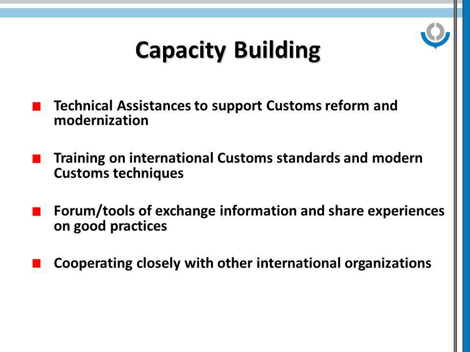 Capacity Building Technical Assistances to support Customs reform and modernization Training on international Customs standards and modern Customs techniques Forum/tools of exchange information and share experiences on good practices Cooperating closely with other international organizations