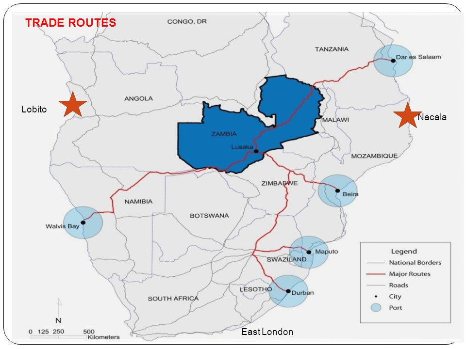 The Case of Zambia (Cont…) Oil pipeline from Dar-es-salaam, Tanzania to Ndola, Zambia; Rail Systems- Previous with Zimbabwe into South Africa TAZARA build in 1966-71 (With assistance from China);- has now become a Development Corridor; Land-lockedness is a given.