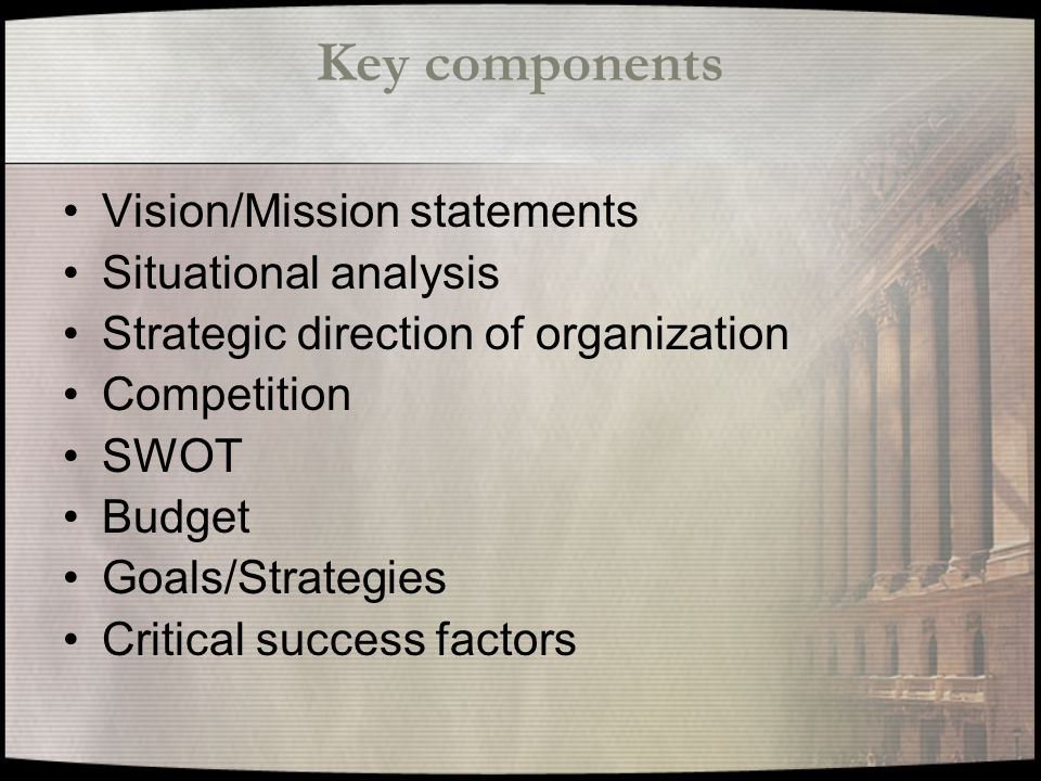 Key components Vision/Mission statements Situational analysis Strategic direction of organization Competition SWOT Budget Goals/Strategies Critical success factors