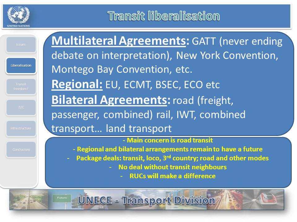 issuesissues Multilateral Agreements: GATT (never ending debate on interpretation), New York Convention, Montego Bay Convention, etc.
