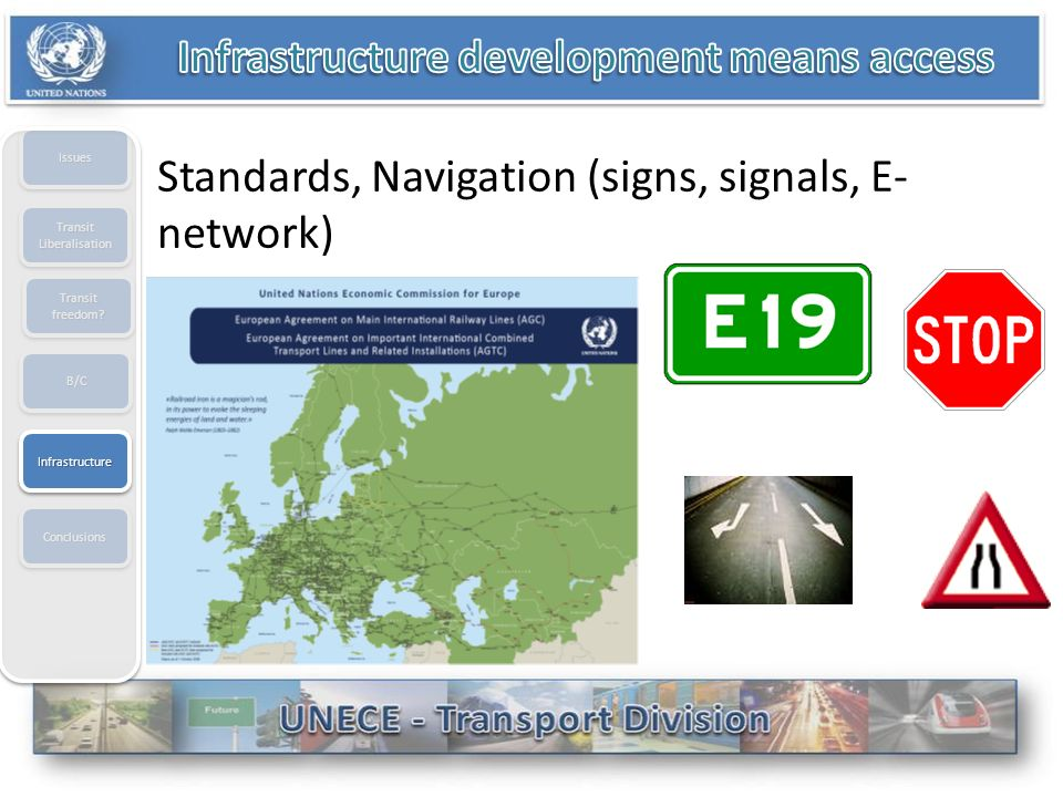 B/CB/C IssuesIssues Transit Liberalisation ConclusionsConclusions Transit freedom? Standards, Navigation (signs, signals, E- network) InfrastructureIn