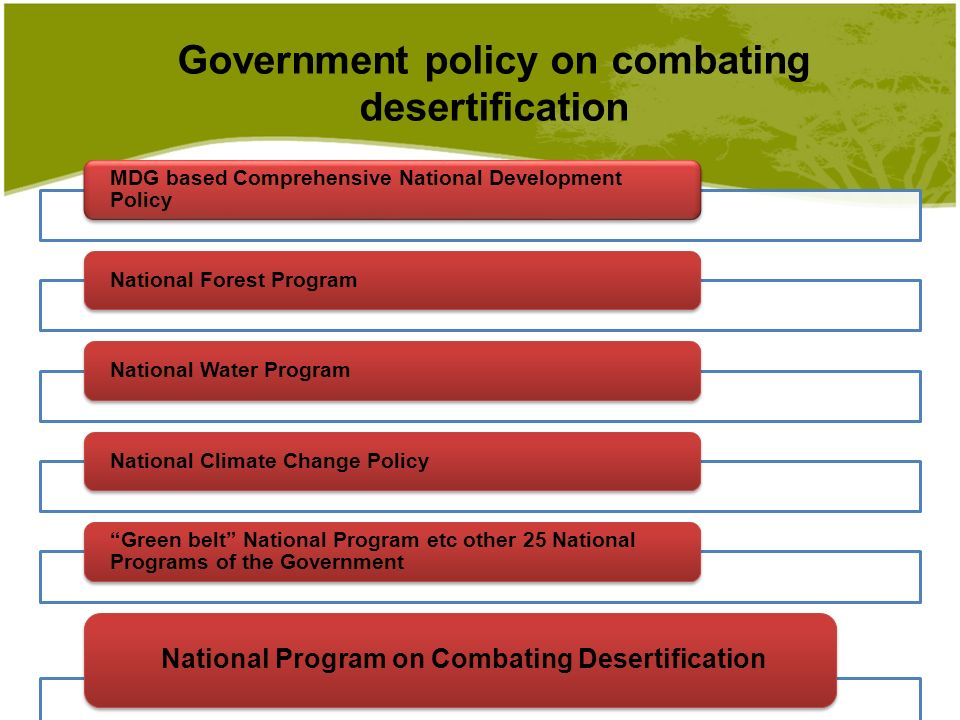 Government policy on combating desertification MDG based Comprehensive National Development Policy National Forest ProgramNational Water ProgramNational Climate Change Policy Green belt National Program etc other 25 National Programs of the Government National Program on Combating Desertification