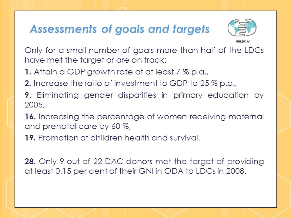 Assessments of goals and targets Only for a small number of goals more than half of the LDCs have met the target or are on track: 1.