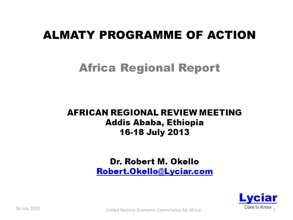 AFRICAN REGIONAL REVIEW MEETING Addis Ababa, Ethiopia July 2013 Dr.