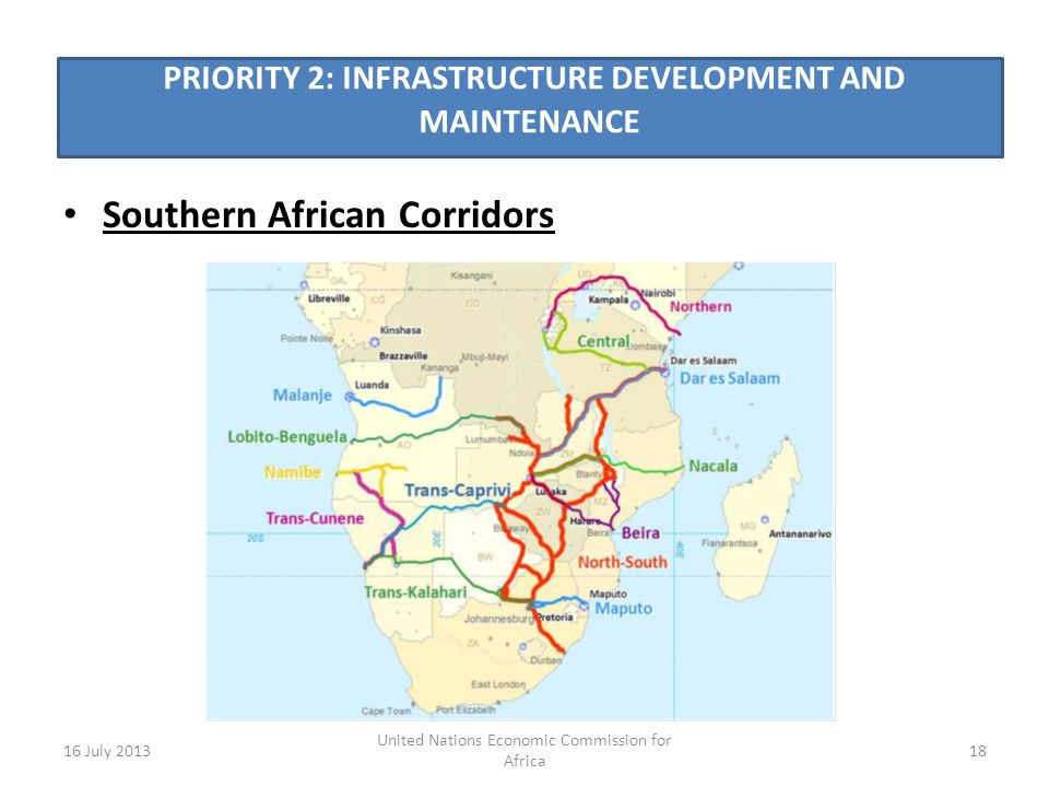 PRIORITY 2: INFRASTRUCTURE DEVELOPMENT AND MAINTENANCE Southern African Corridors 16 July 201318 United Nations Economic Commission for Africa
