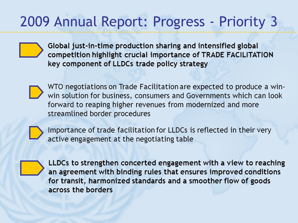 Global just-in-time production sharing and intensified global competition highlight crucial importance of TRADE FACILITATION key component of LLDCs tr