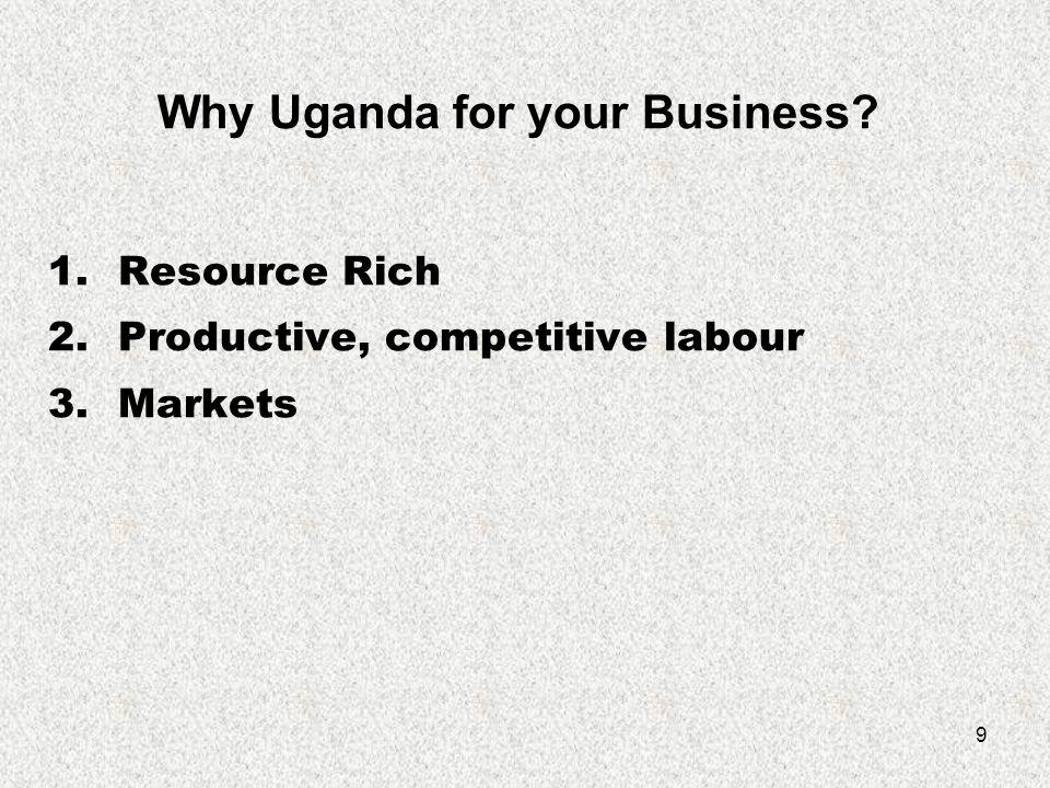 10 MARKET Uganda- 30* million East Africa-125* million Great Lakes Region-190* million COMESA - 23 member countries - 400 million people.