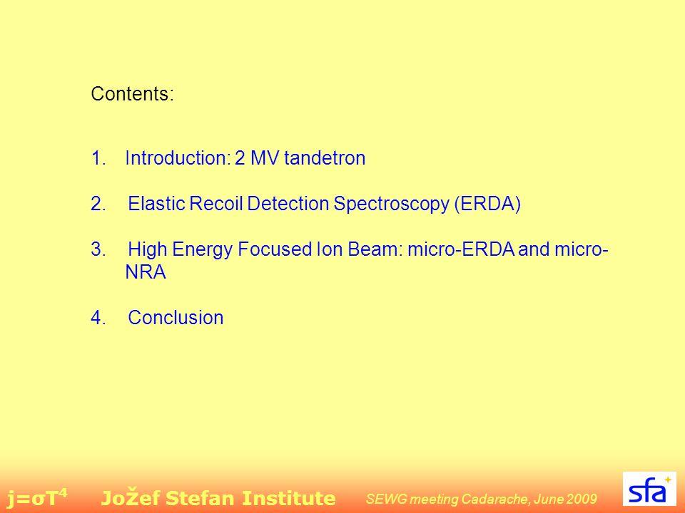 j=σT 4 Jo ž ef Stefan Institute SEWG meeting Cadarache, June 2009 Contents: 1.Introduction: 2 MV tandetron 2.