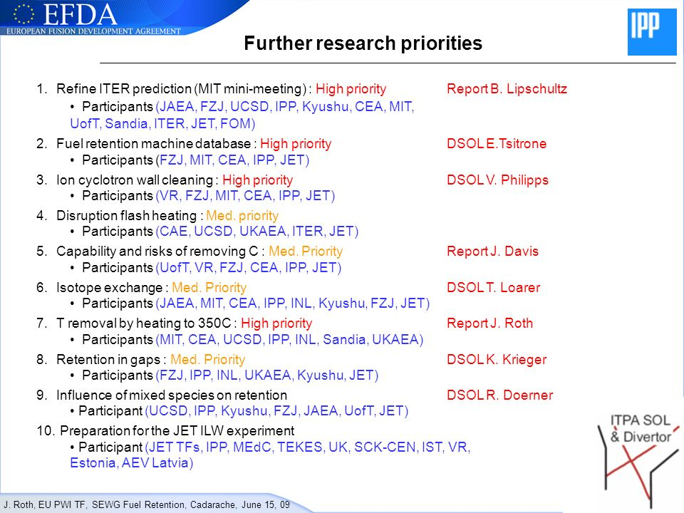 J. Roth, EU PWI TF, SEWG Fuel Retention, Cadarache, June 15, 09 Further research priorities 1.Refine ITER prediction (MIT mini-meeting) : High priorit