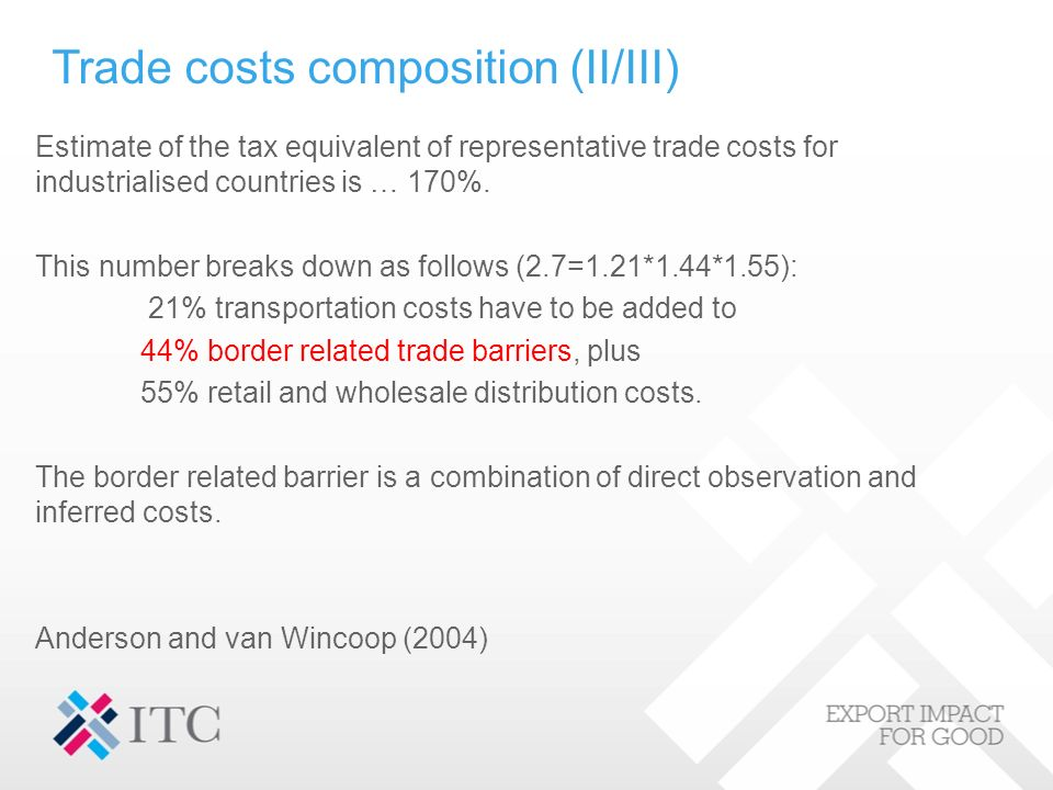 Trade costs composition (II/III) Estimate of the tax equivalent of representative trade costs for industrialised countries is … 170%.