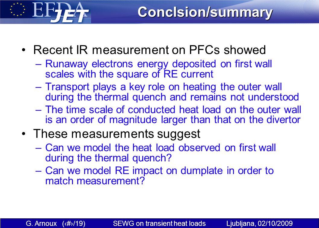 G. Arnoux (19/19) SEWG on transient heat loads Ljubljana, 02/10/2009Conclsion/summary Recent IR measurement on PFCs showed –Runaway electrons energy d