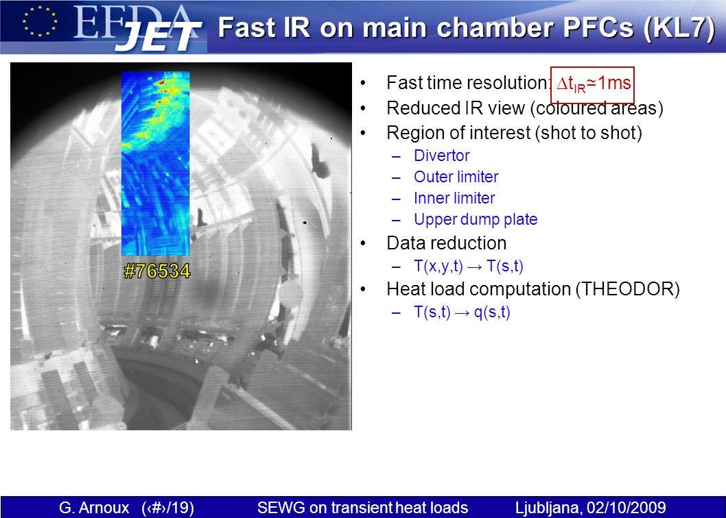 G. Arnoux (3/19) SEWG on transient heat loads Ljubljana, 02/10/2009 Fast IR on main chamber PFCs (KL7) Fast time resolution: t IR 1ms Reduced IR view