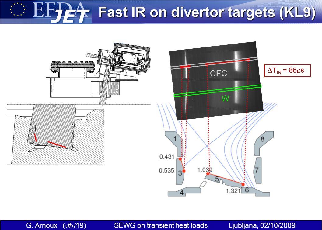 G. Arnoux (4/19) SEWG on transient heat loads Ljubljana, 02/10/2009 Fast IR on divertor targets (KL9) CFC W T IR = 86 s