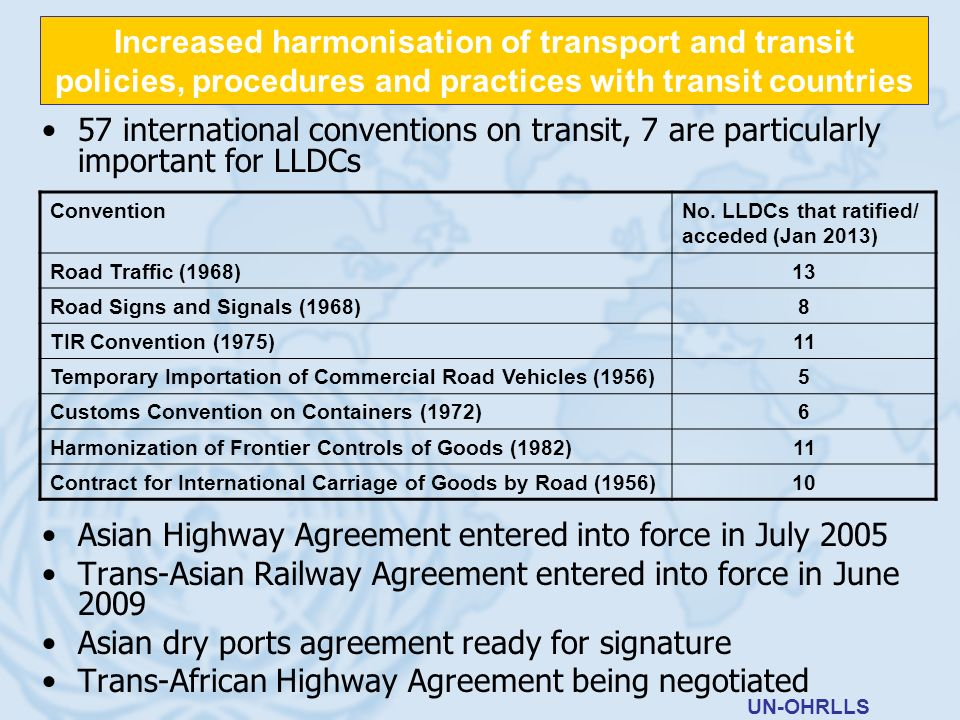 57 international conventions on transit, 7 are particularly important for LLDCs Asian Highway Agreement entered into force in July 2005 Trans-Asian Ra